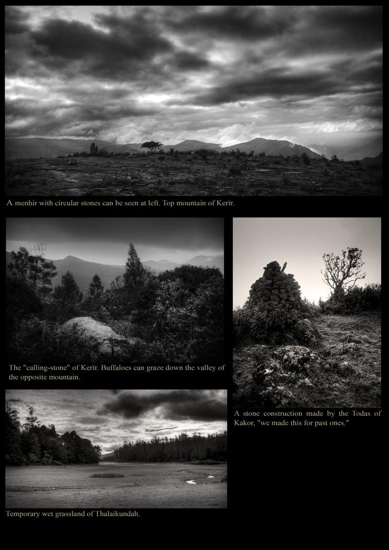 Cairns on top of a moutain. Toda Kerïrs 'calling stone'. Wet grassland of Thalaikundah.